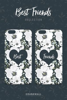 Get these adorable floral matching best friends cases exclusively at @grandwall ! Shop here: https://grandwall.co/collections/phone-cases/products/best-floral-heart-phone-case?variant=10765380485: