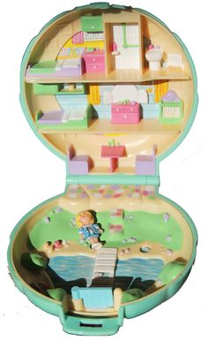 1989 Vintage Polly Pocket Bluebird Compact House BY THE Lake W Doll | eBay