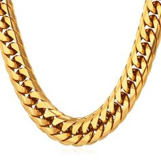 73d07db221 Men's Big Chain Cuban Curb Franco Chains Punk Hip-hop Style 12MM Wide 18K Gold  Plated Chunky Necklace | Amazon.com