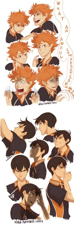 Hinata and Kageyama from Haikyuu!! || http://viria.tumblr.com/post/74940409572/i-finally-can-submit-thiingssss-i-love-these [please do not remove this caption with the source]
