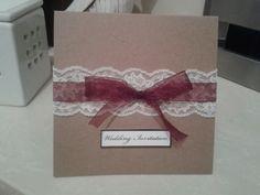 Simple homemade vintage style wedding invitations