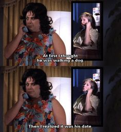 """""""At first I thought he was walking a dog. Then I realized it was his date."""" —Cuddles Divine (as Francine Fishpaw) and Edith Massey (as Cuddles Kovinsky) from John Waters' Polyester, 1981 John Waters Movies, Stiv Bators, Holiday Meme, Here's Johnny, Star Wars, Modern Romance, Pink Flamingos, I Movie, Lgbt"""