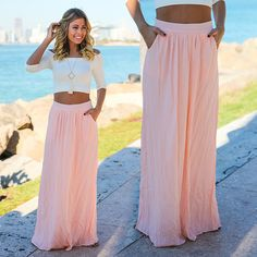 Pink Maxi Skirt with Pockets - Saved By The Dress Maternity Maxi Skirts, Maxi Skirt Outfits, Side Slit Maxi Dress, Trendy Online Boutiques, Cute Short Dresses, Evening Dresses For Weddings, Skirts With Pockets, Rock, Beauty