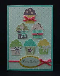 Inspiration: delightful cupcake card by Julie Kettlewell, Stampin Up UK with Cupcakes and Sweet Treats Tarjetas Diy, Stamping Up Cards, Happy Birthday Cards, Birthday Wishes, Card Birthday, Birthday Greetings, Kids Cards, Cute Cards, Creative Cards