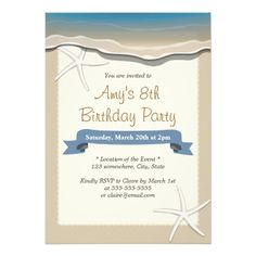 Summer Beach Theme Starfish Birthday Invitations
