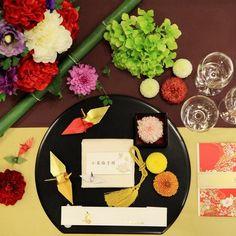 大國魂神社 結婚式場(おおくにたまじんじゃ)|結婚式場写真「モダン和のテーブルコーディネイト」 【みんなのウェディング】