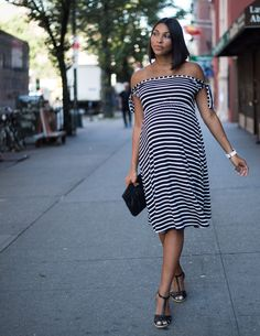 It's All Black & White – Off the shoulder Maternity Dress by ASOS, Maternity Style, Maternity Summer Outfit, Maternity Dress, Maternity Spring Outfit, Pregnant Style, ASOS Maternity, White Watch, Baby Shower Outfit, Stylish Maternity