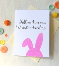 Happy Easter! Glitter Easter Bunny Greeting Card- send this funny bunny to someone you love = ) by HotWheelsandGlueGuns