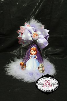 Sofia the First Birthday hat  3-in-1  Its a birthday hat, and removable hair bow for year around celebration!