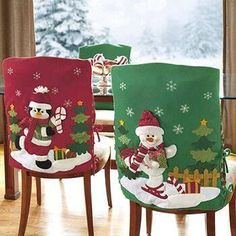 Funny And Cute Chair Cover Ideas For Christmas Christmas Chair Covers, Christmas Pillow, Felt Christmas, Vintage Christmas, Christmas Stockings, Christmas Holidays, Christmas Ornaments, Christmas Sewing, Christmas Projects