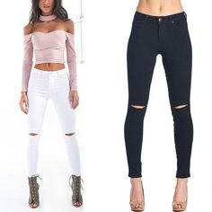 Ankle Length Pencil Pants with Ripped Knees