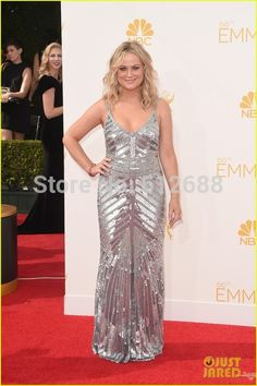 WANT THIS DRESS! Amy Poehler Silver Dress 2016 Emmy Red Carpet - Spaghetti Strap Sweetheart Sleeveless A-line Sexy Silver Sequined Celebrity Dresses