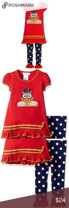 Rare Editions Girls Plum Owl Halloween School Fall Dress Outfit Legging 4T New