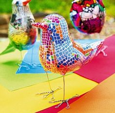 Kirstie Allsopp paper sculpture. Scrunch and rescrunch newspaper till it's soft. Mould into your shape and secure all over with plenty of sellotape. Poke in wire legs and add a paper beak, then paint all over with white acrylic paint. Once dry it's ready to decoupage.