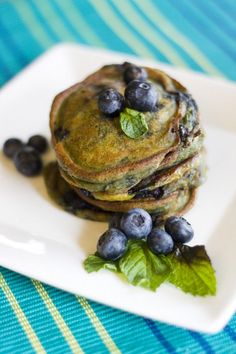Back to school breakfast is served. With a dash of pumpkin and bursting with blueberries these pancakes will get you and the kiddos feeling like Fall.