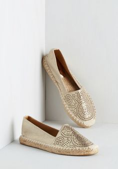 It Was All a Gleam Flat - Flat, Faux Leather, Gold, Solid, Cutout, Casual, Spring, Good, Espadrille, Beach/Resort