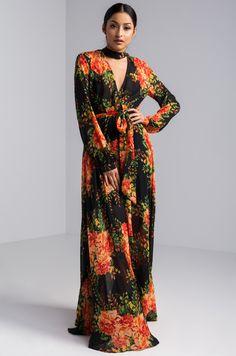 e7e7f63e6609 AKIRA Cut Out V Neck Sheer Floral Maxi Gown in Black