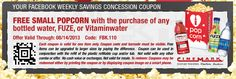Cinemark- Get a FREE Small Popcorn w/ Purchase of Water, FUZE, or VitaminWater Printable Coupon (8/7-8/14) | SassyDealz.com