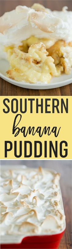 Traditional Southern Banana Pudding starts with a layer of Nilla wafers, sliced bananas, homemade vanilla pudding, and is topped with piles of meringue! via @browneyedbaker
