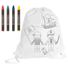 Colour-in children's backpack Drawstring Backpack, Backpacks, Bags, Wax, Pirates, Colors, Gift, Handbags, Backpack