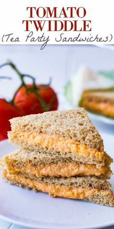 Tomato Twiddle (Tea Party Sandwiches) - Tomato Twiddle (Tea Party Sandwiches) This Tomato Twiddle recipe is perfect as a tea party sandwich. Easy to make, only 3 ingredients, and so flavorful! Get ready to meet your new favorite sandwich! Mini Sandwiches, Party Finger Sandwiches, English Tea Sandwiches, Dinner Sandwiches, Vegan Sandwiches, Breakfast Sandwiches, Subway Sandwich, Roast Beef Sandwich, Tomato Sandwich