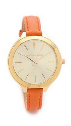 Michael Kors Leather Slim Runway Watch.  Deciding between orange and navy for my next bit of arm candy!