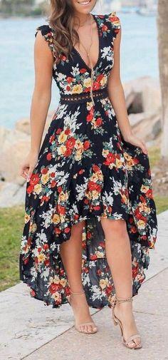 Fifi backless maxi boho beach dress - Love this floral high low maxi dress Source by - Stylish Dresses, Elegant Dresses, Cute Dresses, Casual Dresses, Fashion Dresses, Awesome Dresses, Floral Fashion, Woman Dresses, Boho Fashion