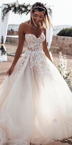 Sweetheart Neck Lace Rustic Wedding Dresses Long Tulle Beach Wedding Dress – The Best Ideas Maxi Dress Wedding, Wedding Dress Train, Sweetheart Wedding Dress, Rustic Wedding Dresses, Long Wedding Dresses, Mermaid Wedding, Wedding Ideas, Floral Wedding, Casual Wedding
