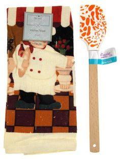 "Kitchen Towel Chef Cafe Scene 15""x25"" Orange White Silicone Spatula Gift Set 2 - FUNsational Finds - 1"