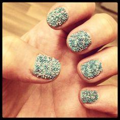 Mint caviar nails