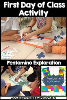 Looking for an ice breaker that requires problem solving and cooperation? Use a pentomino exploration activity! #mathactivities #math #firstday
