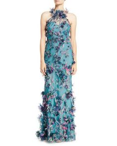 c54fe689adf Marchesa Notte 3D Floral Halter Gown with Embroidery Haute Couture Dresses