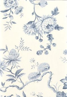 Pillemont Toile Wallpaper A lovely floral and peacock wallpaper in blue on white
