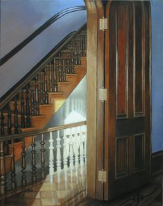 stairs for good, oil on panel, 14x11