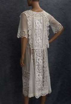1920s Clothing at Vintage Textile: #2723 Embroidered tea dress