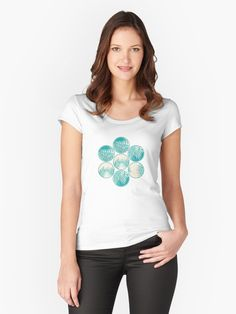 Cyan Tropical Coins #redbubble #decor #buyart by designdn Women's Fitted Scoop T-Shirts