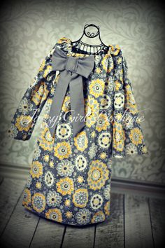 Girls Peasant Dress Suzani Floral with Grey by JazzyGirlBoutique, $30.00