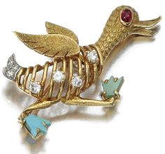 CARTIER  BROOCHES | Cartier duck brooch in gold, diamonds, turquoise, and a cabochon ...
