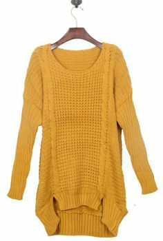 Mustard Yellow Split Side Dipped Hem Cable Sweater pictures