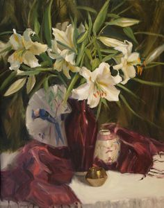 Casablanca Lilies by Judy Crowe - Casablanca Lilies Painting - Casablanca Lilies Fine Art Prints and Posters for Sale
