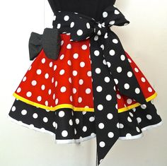 Minnie Mouse Half Apron in Red, Pink, Black, White & Yellow polka dot on Etsy, $34.95
