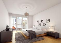 STOMEO Architektur Visualisierung - Zürich Bed, Furniture, Home Decor, Architecture Visualization, New Construction, Room Interior Design, Real Estates, Floor Layout, Photo Illustration