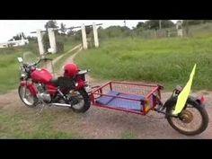 YouTube Pull Behind Motorcycle Trailer, Homemade Trailer, Bicycle Engine, Mx Bikes, Yamaha Virago, Harley Davidson Posters, Dump A Day, Moto Bike, Sidecar
