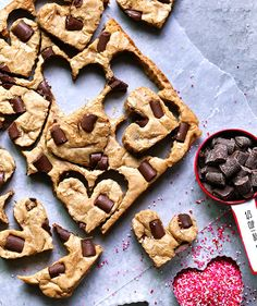 Cinnamon and nutmeg enhance the flavor of these blondies, which are studded with chocolate chunks and baked until barely done. Use a mini heart-shaped cookie cutter to create the cute shapes, then enjoy the leftover scraps all to yourself. Prefer peanut butter to cookie butter? Feel free to swap it in.