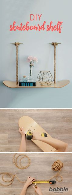 This DIY Skateboard Shelf will add some edge to your little ones bedroom. Just grab a skateboard deck and some rope, and you'll add a unique touch to their decor that will never go out of style. Skateboard Decor, Skateboard Shelves, Skateboard Furniture, Skateboard Design, Skateboard Clothing, Skateboard Parts, Upcycled Home Decor, Upcycled Furniture, Diy Furniture