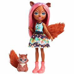 Let the adorable Sancha Squirrel™ doll and her squirrel friend Stumper™ figure enchant you. The Enchantimals™ dolls are lovable characters who share a special bond with their animal friends -- they're always together, and they look alike Mattel Shop, Squirrel Tail, Furry Tails, Blue Bow Tie, Lederhosen, Colourful Outfits, Equestria Girls, Twilight Sparkle, Friends Forever