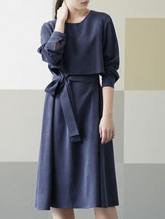 a6c740eee853f Long Sleeve Casual Rayon Midi Dress Casual Formal Dresses