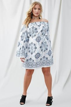 Forever 21+ - A semi-sheer dress featuring a smocked off-the-shoulder neckline, an allover floral and damask print, long bell sleeves, and a self-tie sash at the waist.