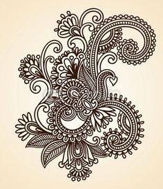 Hand-drawn abstract henna mendie  design element