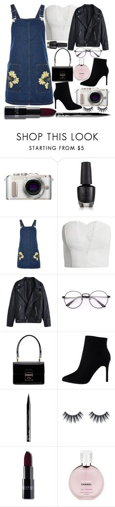 """""""and swing that round for me, baby"""" by fangirl-preferences ❤ liked on Polyvore featuring PL8, Topshop, Sans Souci, Dolce&Gabbana, NYX, Chanel, leatherjackets and minibags"""